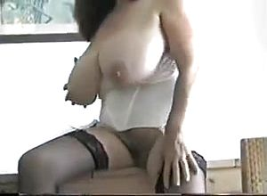 large innate tits,mature,latex,stockings