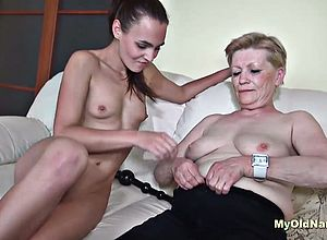 Blowjob,brunette,granny,oldyoung,threesome