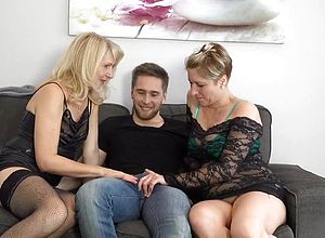German,straight,big tits,mature,threesome,stockings,big man meat